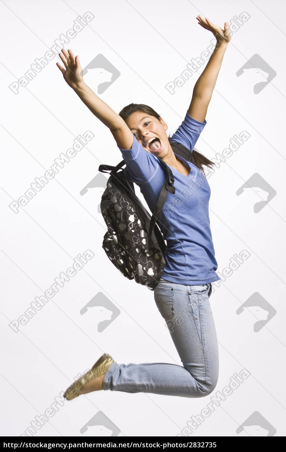 student, wearing, backpack, jumping - 2832735