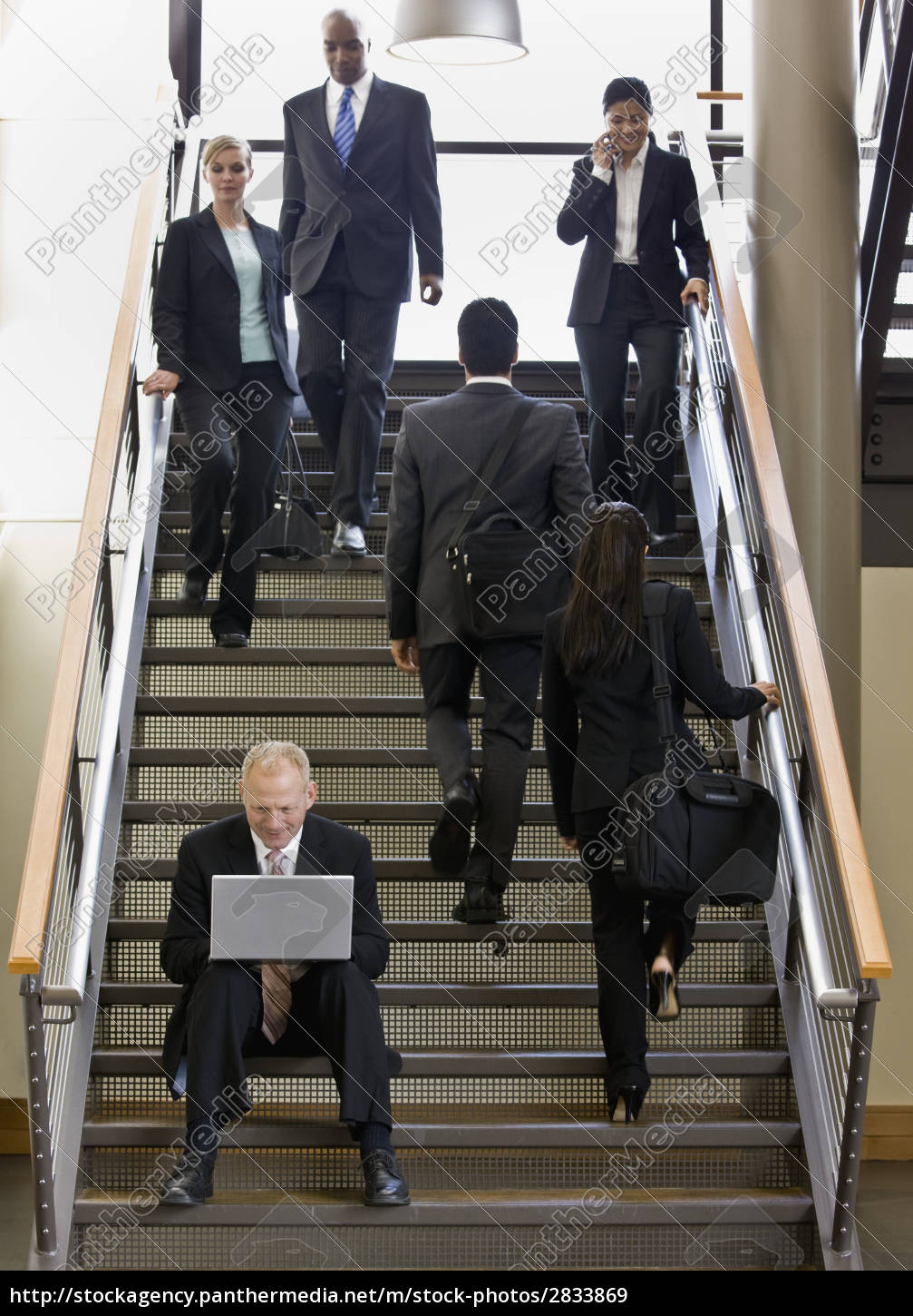 businessman, sitting, on, stairs - 2833869
