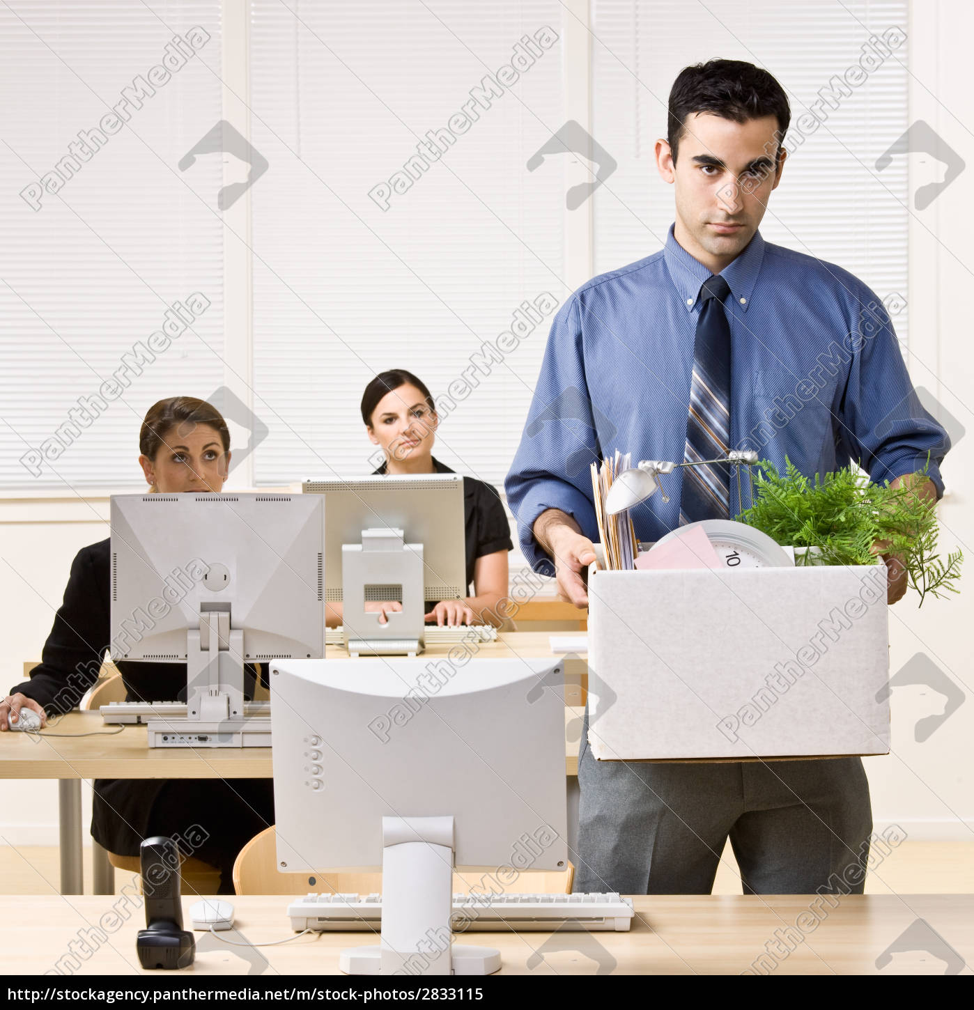 fired, businessman, carrying, box - 2833115