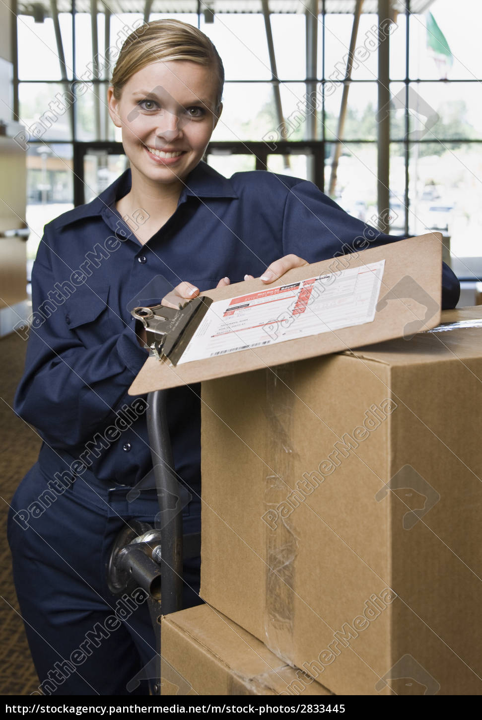 young, woman, delivering, boxes - 2833445