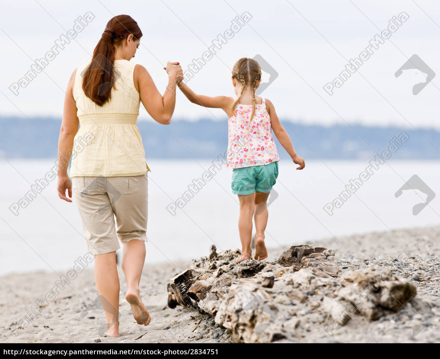 mother, helping, daughter, walk, on, log - 2834751