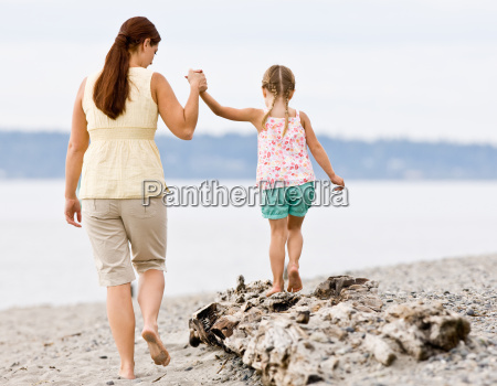 mother, helping, daughter, walk, on, log - 2834751