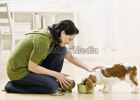 woman, feeding, puppy - 2834291
