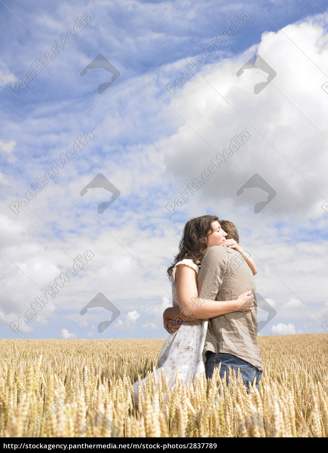 couple, hugging, in, wheat, field - 2837789