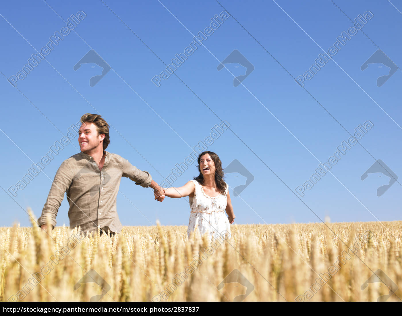 happy, young, couple, in, wheat, field - 2837837
