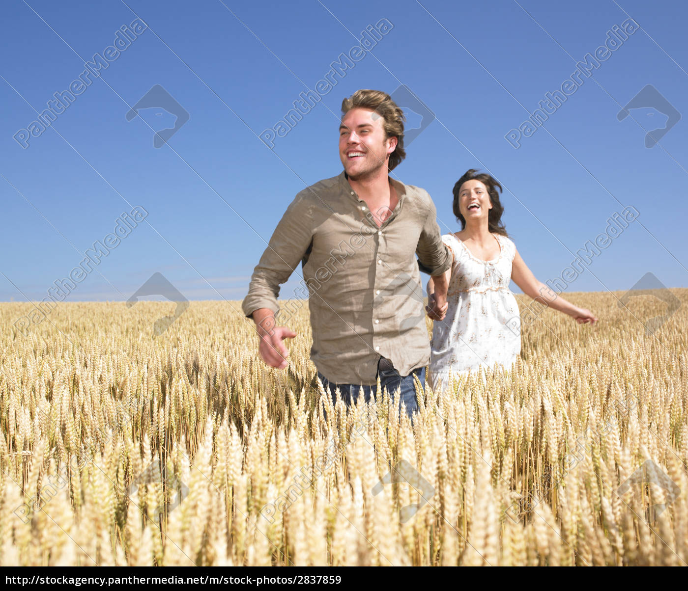 happy, young, couple, in, wheat, field - 2837859