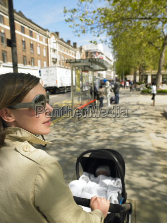 mother, pushing, baby, carriage - 2837515