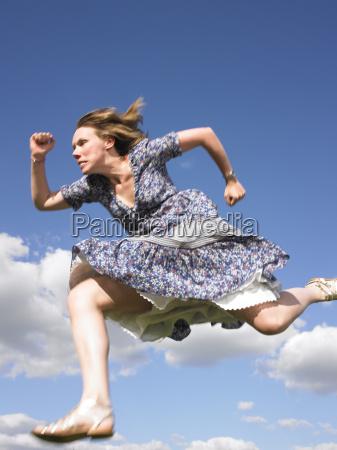 woman, running, in, dress - 2837779