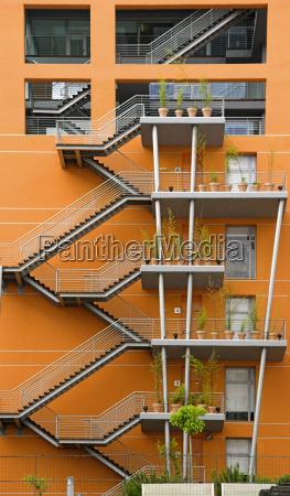 backwards of a modern building