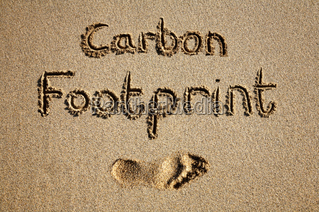 carbon, footprint, written, in, sand, on - 2845275