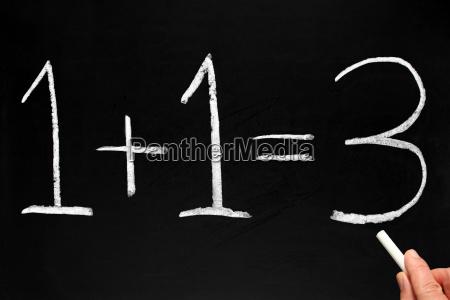 writing, 1+1=3, on, a, blackboard. - 2849633