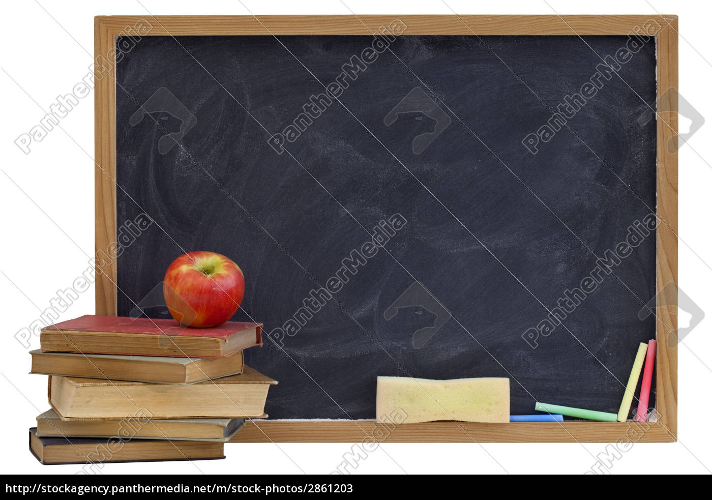 blackboard, with, old, textbooks, and, apple - 2861203