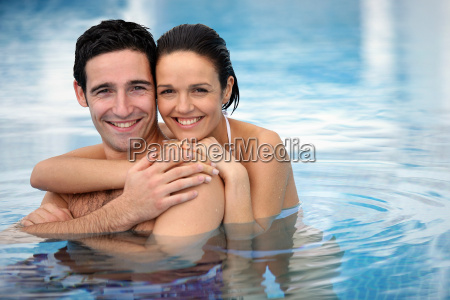 portrait, of, smiling, couple, bathing, at - 2899295