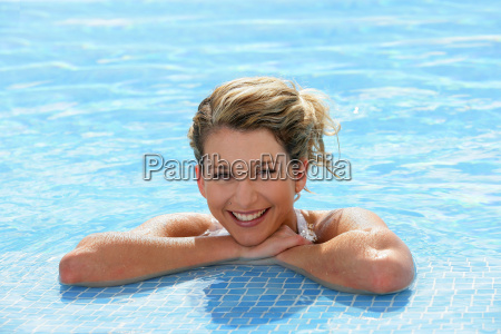 portrait, of, smiling, woman, bathing, at - 2899389