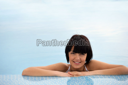 portrait, of, smiling, woman, bathing, at - 2899415