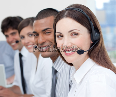 a group of customer service agents