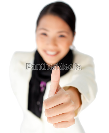 confident businesswoman with thumb up