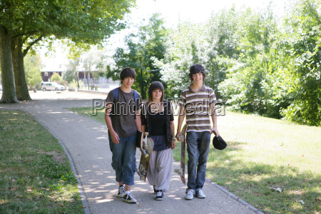 young, boys, and, girl, walking, side - 2946341