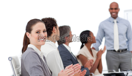 positive business people clapping a good