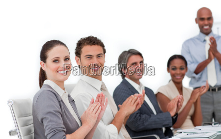 confident business people clapping a good