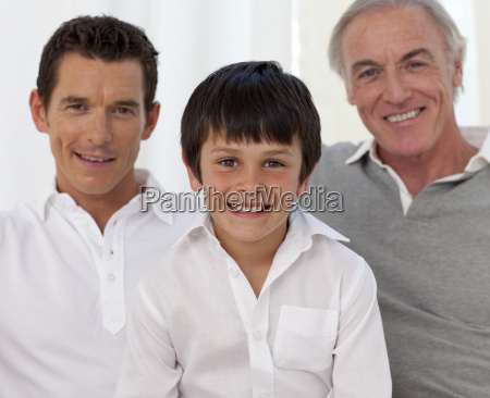 smiling son father and grandfather