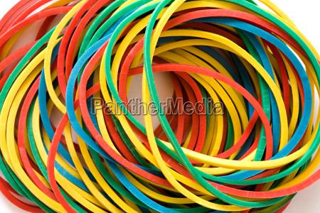 multi coloured elastic bands