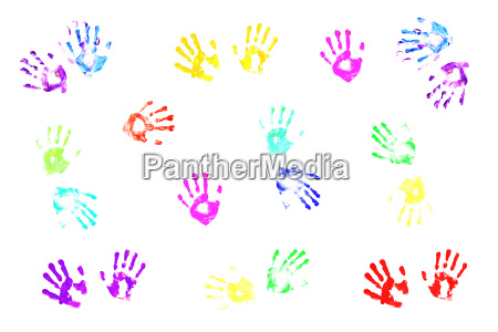 colorful, handprints, made, by, children, on - 2989705