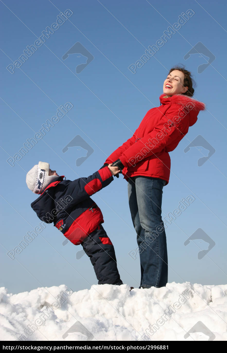 mother, with, son, stand., winter - 2996881