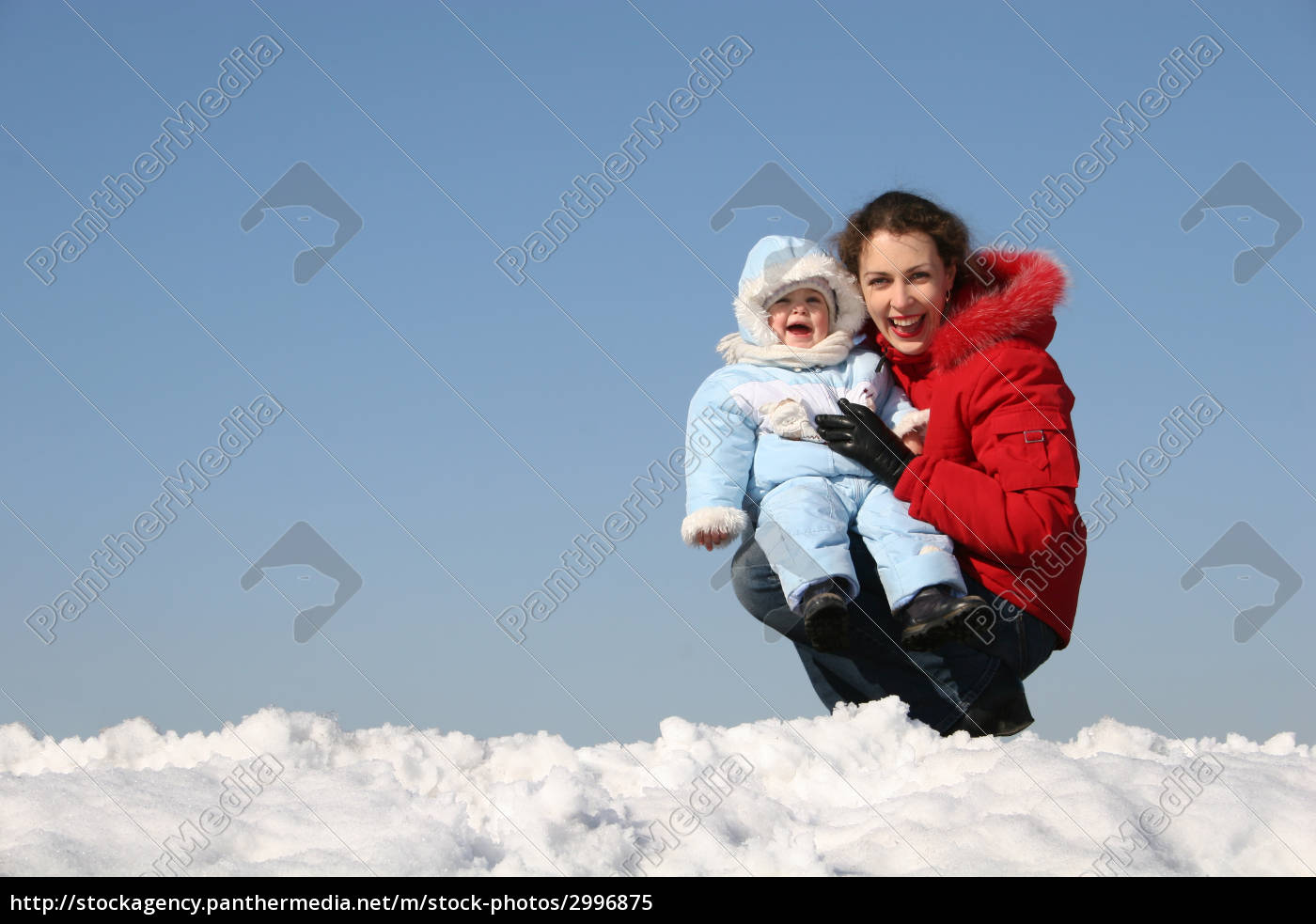 smile, mother, sit, with, baby., winter - 2996875