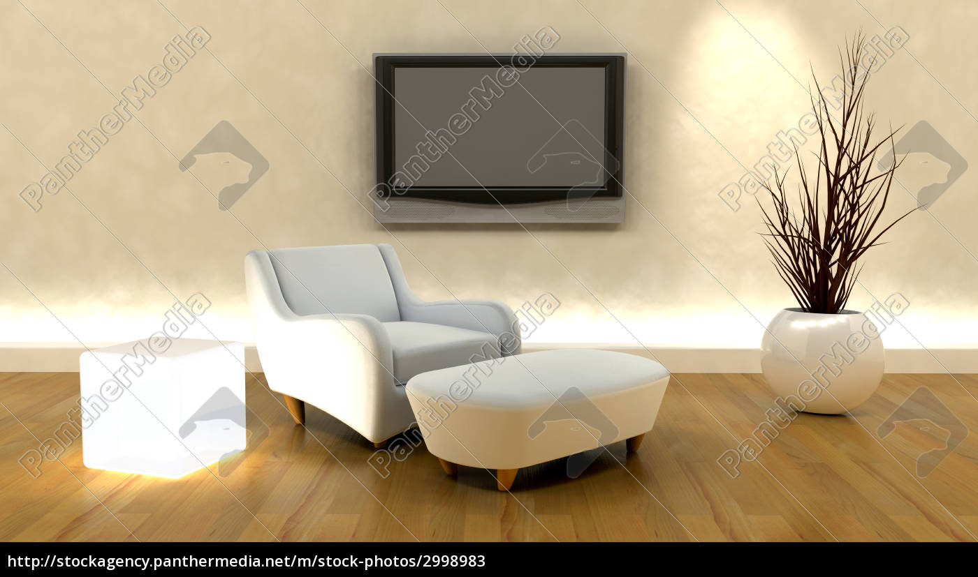 3d, render, of, sofa, and, tv - 2998983
