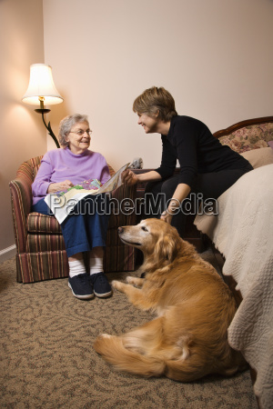 elderly woman with younger woman and