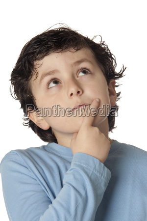 funny, child, with, blue, shirt, thinking - 3023120