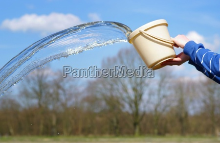 water is poured from a bucket