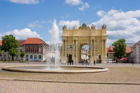 luisenplatz with brandenburg gate in potsdam