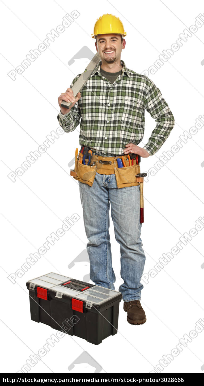 standing, handyman, with, spirit, level - 3028666