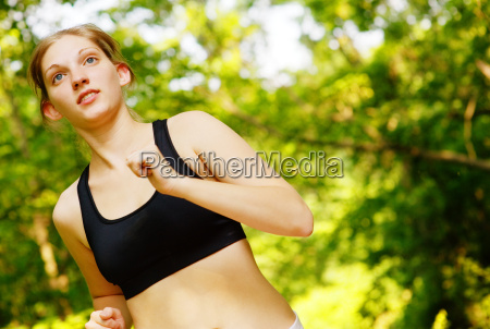 woman, trail, runner, in, forest - 3033475