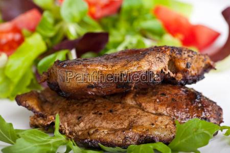 pork steak and salad