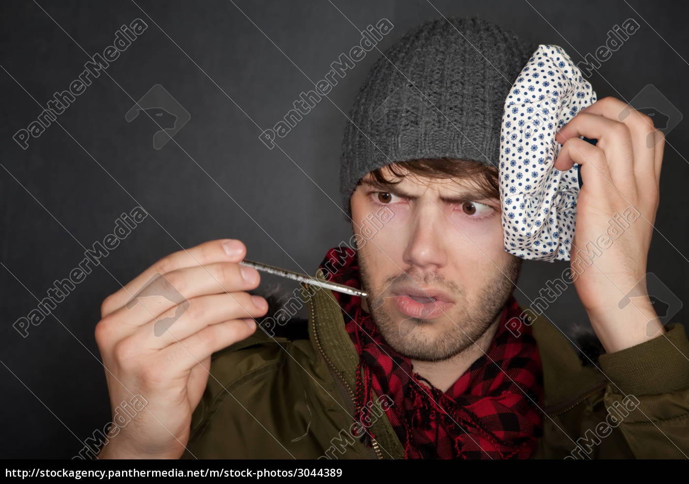 sick, man, with, thermometer, and, ice - 3044389