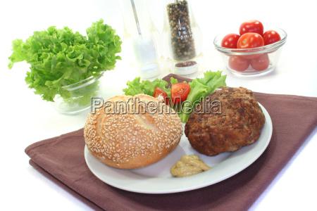 food aliment roll kaiser hamburger burger