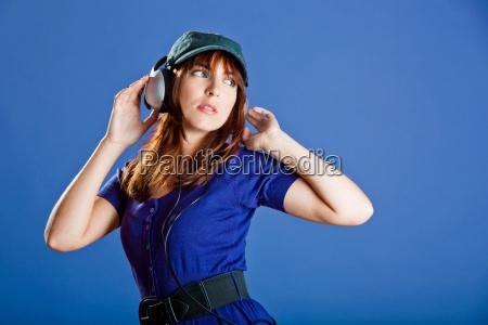 beautiful, woman, listening, music - 3047397