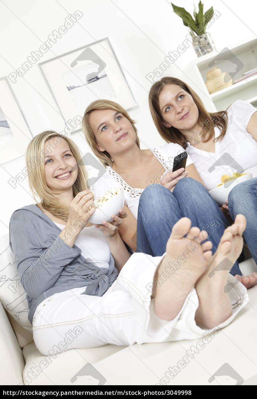 three, girlfriends, watch, tv - 3049998