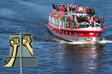 football fans boat trip on the