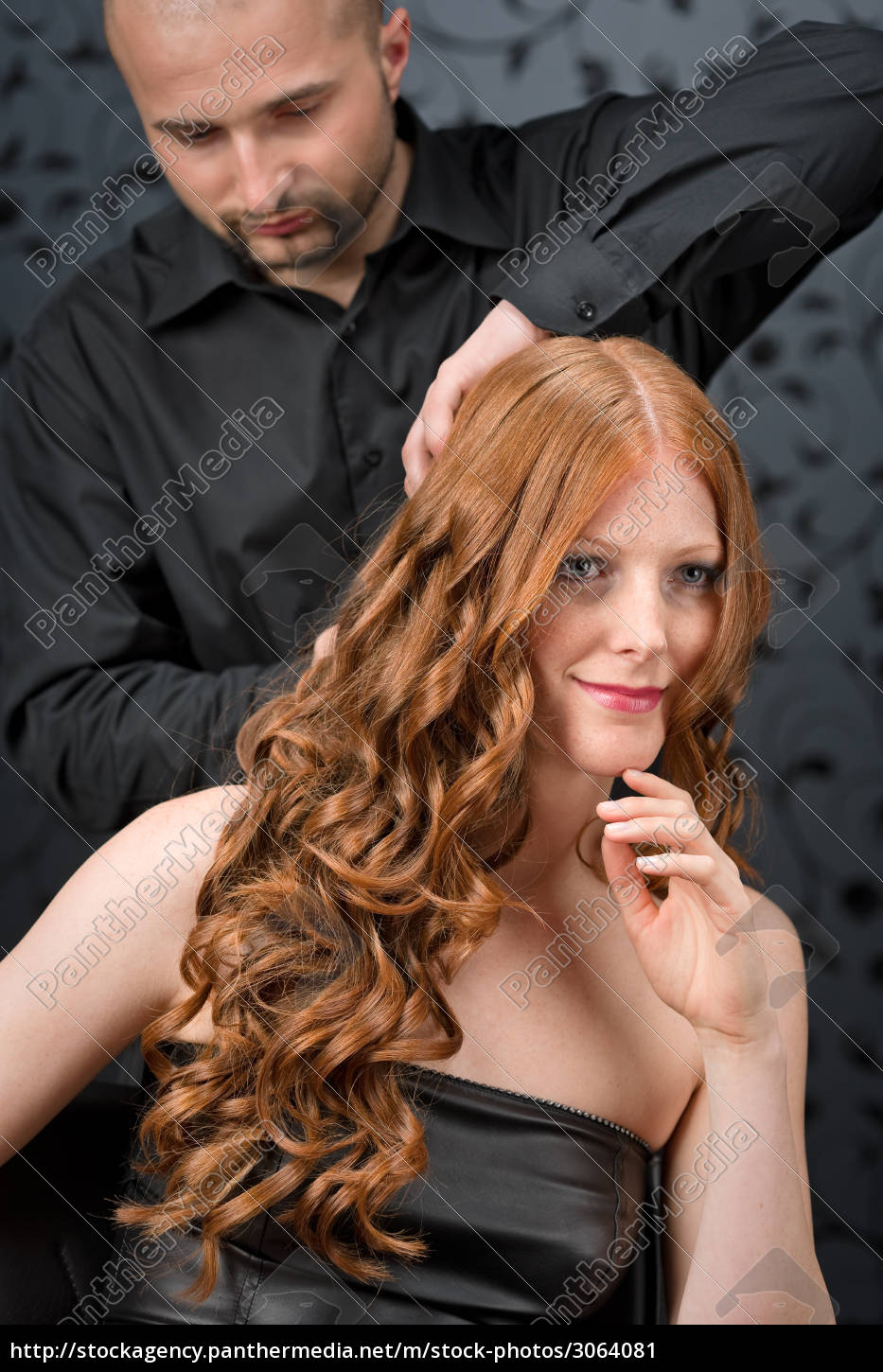 professional, hairdresser, with, fashion, model, at - 3064081