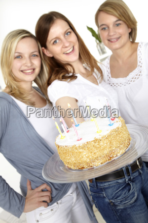 girlfriends, with, birthday, cake - 3070245