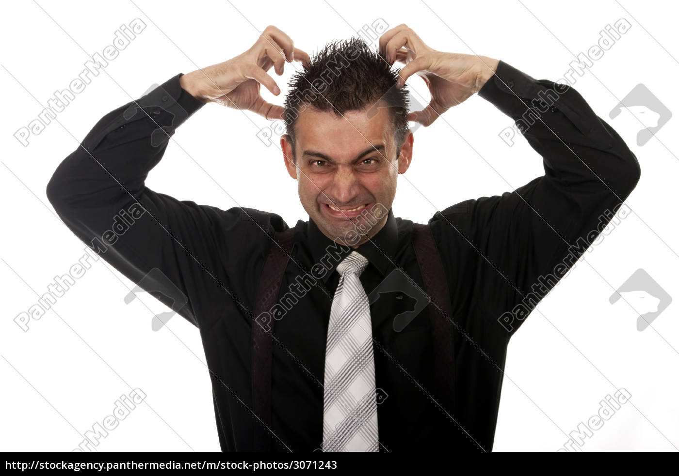 angry, businessman, tearing, his, hair - 3071243