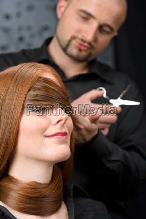 professional, hairdresser, with, fashion, model, at - 3072579
