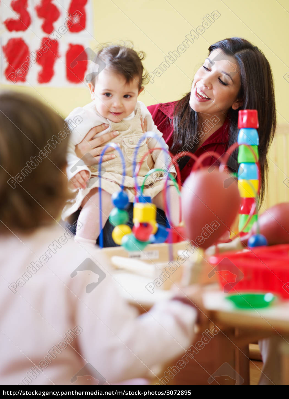 three, little, girls, and, female, teacher - 3072895
