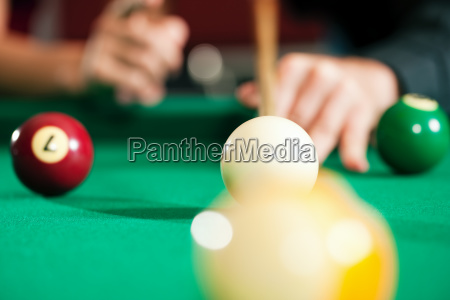 couple, playing, billiards, (hands, only) - 3077511