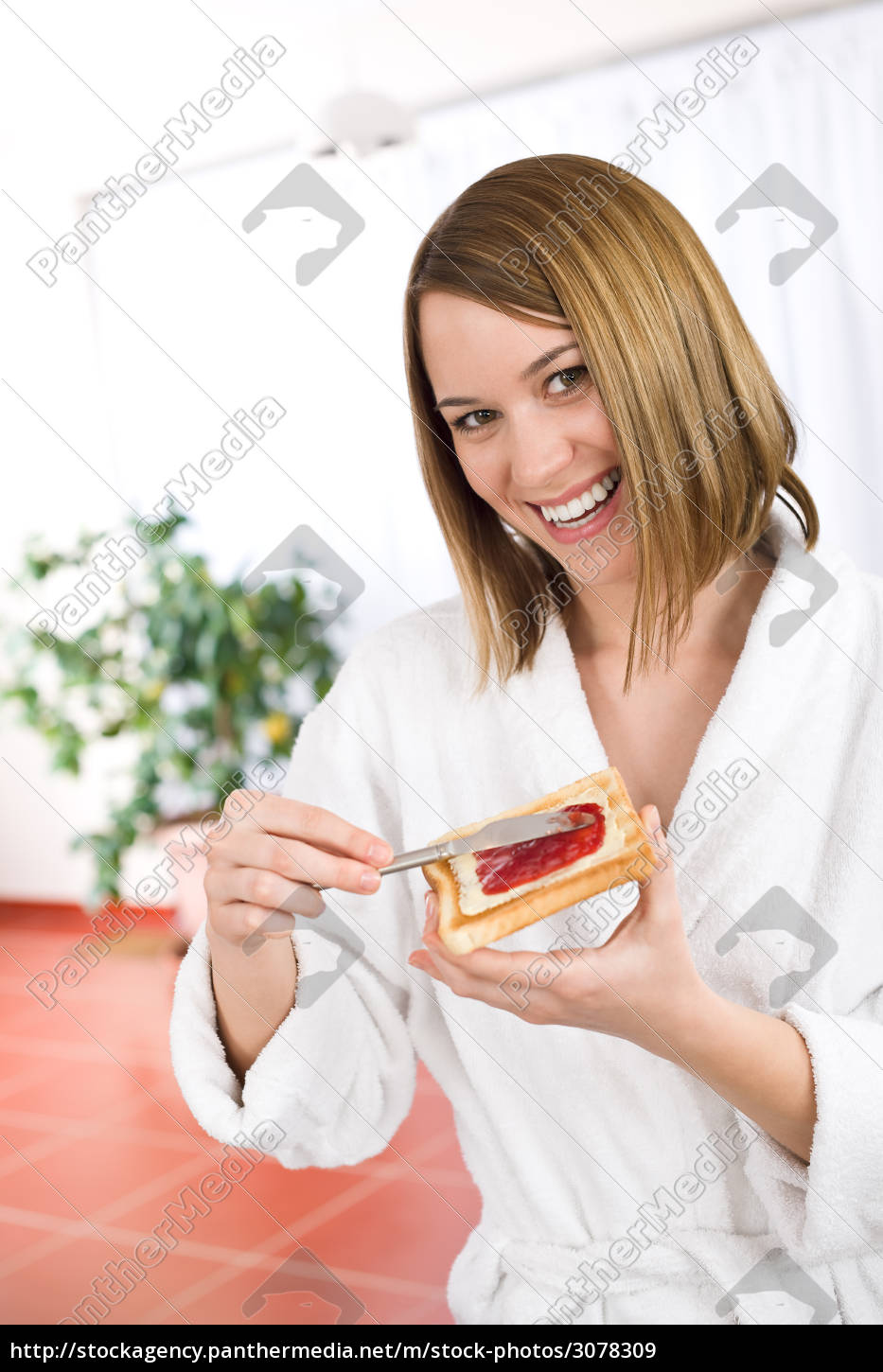 breakfast, -, happy, woman, with, toast - 3078309