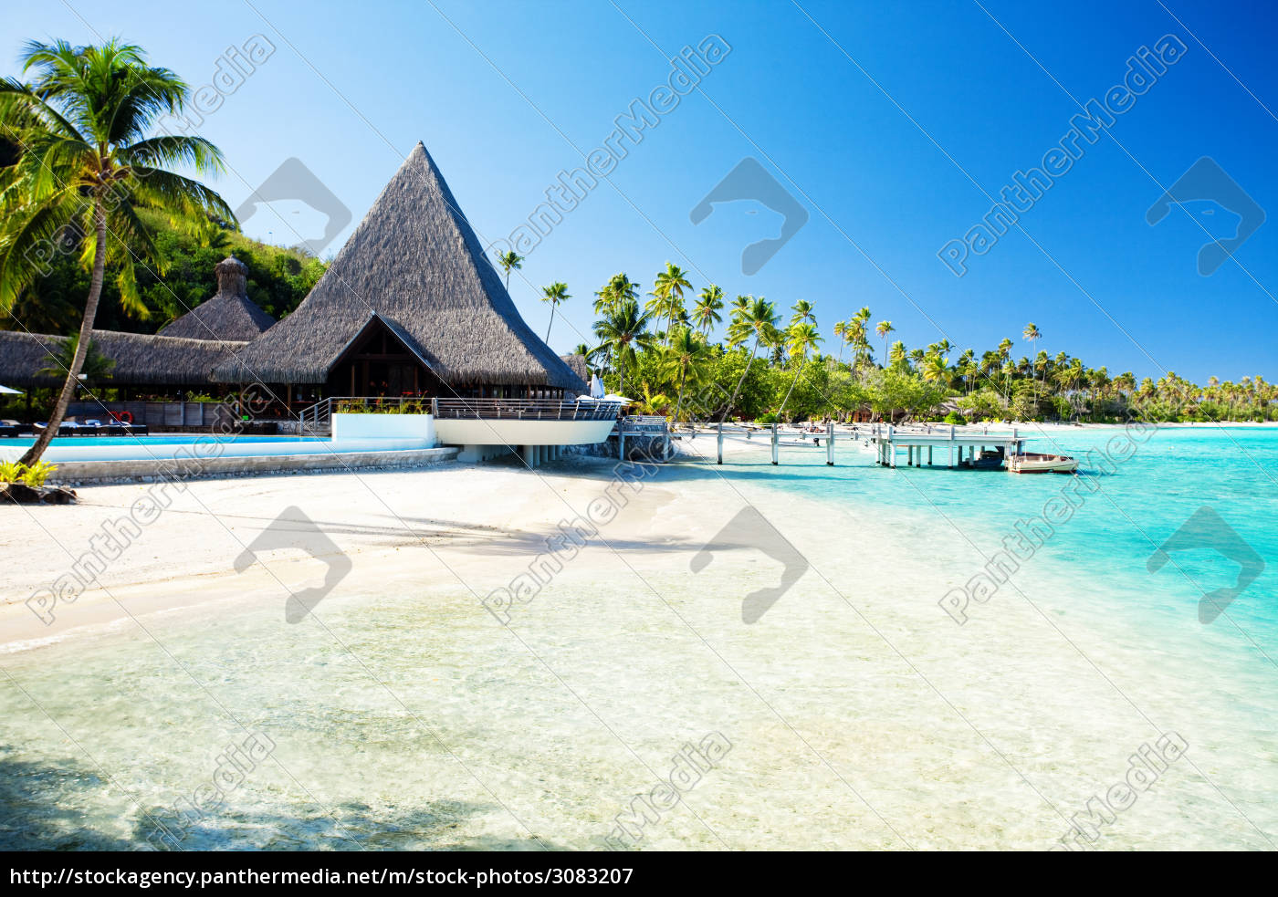 jetty, and, boat, on, tropical, beach - 3083207
